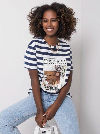 Granatowo-biały t-shirt z nadrukiem Juliana