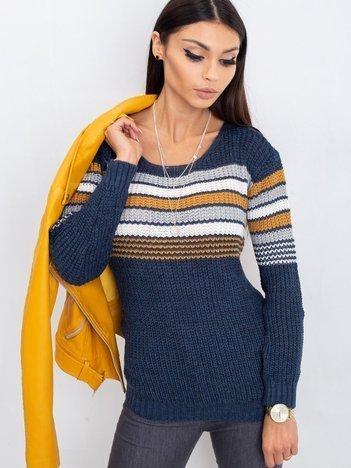 Granatowo-brązowy sweter Attitiude
