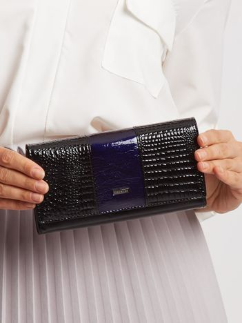 Granatowo-czarny portfel skórzany