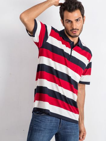 Granatowo-czerwona koszulka męska polo Thought