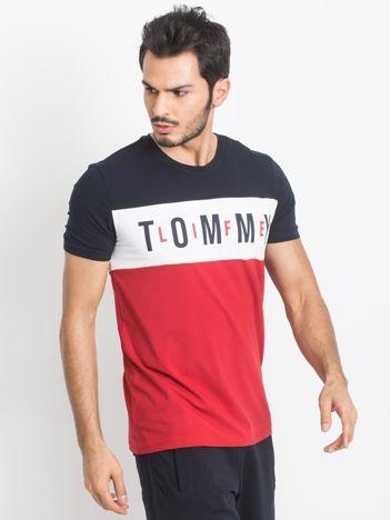 Granatowo-czerwony t-shirt męski TOMMY LIFE