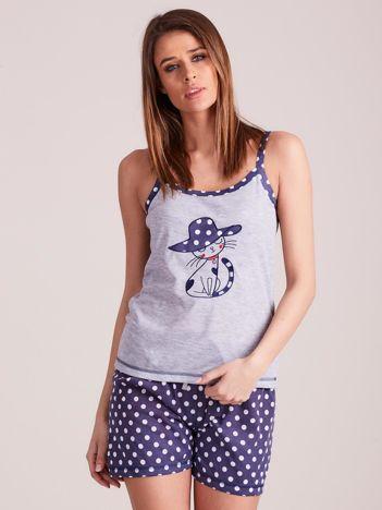 Granatowo-szara piżama damska w grochy