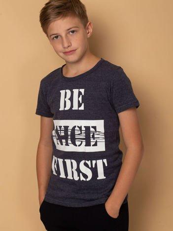 Granatowo-szary t-shirt dla chłopca