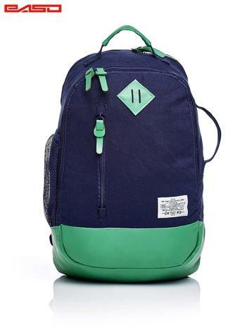 Granatowo-zielony plecak szkolny ze skórzaną wstawką
