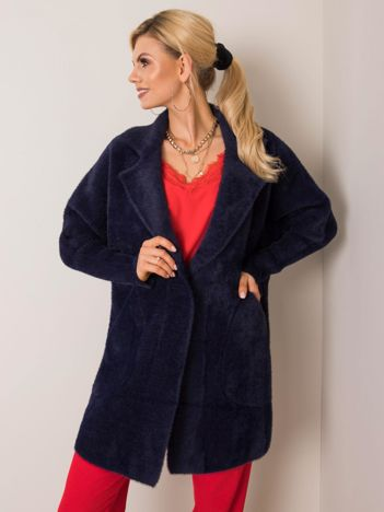 Granatowy płaszcz alpaka Nora