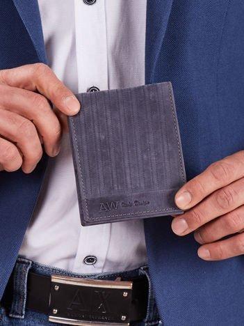 Granatowy skórzany męski portfel