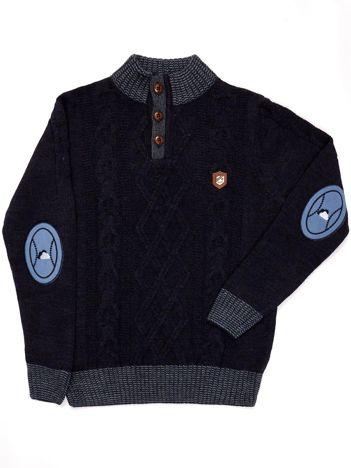 Granatowy sweter dla chłopca w warkocze
