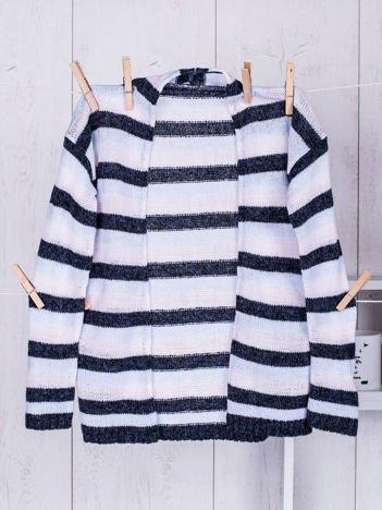 Granatowy sweter dla dziewczynki w kolorowe pasy