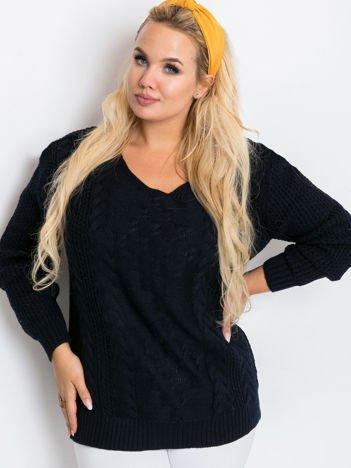 Granatowy sweter plus size Flower