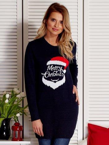 Granatowy sweter świąteczny z Mikołajem