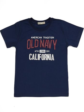Granatowy t-shirt chłopięcy z napisem California