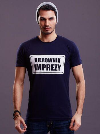 Granatowy t-shirt męski KIEROWNIK IMPREZY