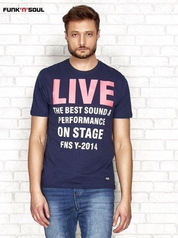 Granatowy t-shirt męski z napisem LIVE Funk n Soul