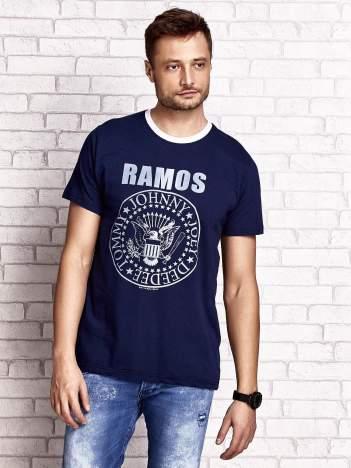 Granatowy t-shirt męski z napisem RAMOS i nadrukiem