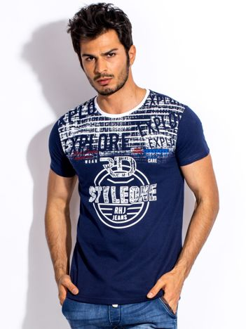 Granatowy t-shirt męski z okrągłym nadrukiem