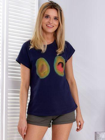 Granatowy t-shirt z awokado