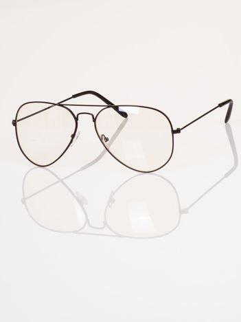 HIT 2017 Modne okulary zerówki AVIATORY czarne