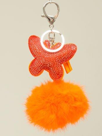 HIT! Puchaty pomarańczowy brelok do kluczy,zawieszka do torebki MOTYL z cyrkoniami i chwostem