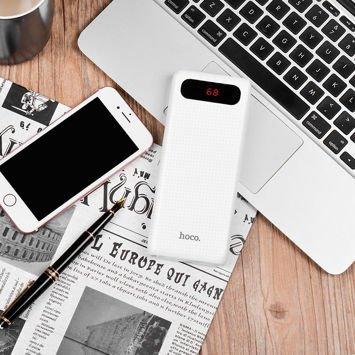 """HOCO B20A Powerbank """"MIGE""""o mocy 20000 mAh podwójny USB z włókna węglowego , cyfrowy wskaźnik baterii ,podwójne światło-latarka .Kolor biały"""