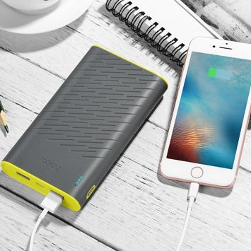 """HOCO B31 Powerbank """"REGE""""o mocy 20000 mAh z podwójnym USB 5V2.1A i diodą LED 330g. Kolor szaro-żółty."""