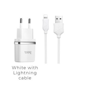 HOCO C12 Inteligentna ładowarka sieciowa z dwoma wyjściami USB 2.4A z przewodem Lightning do ładowania urządzeń Apple Kolor biały