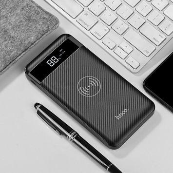 HOCO J11 Bezprzewodowy Powerbank o mocy 10000 mAh Mikro-USB / Lightning / wejście C 5 V 5 W podwójny USB Wyjście 2.1A / 1A. Kolor czarny.