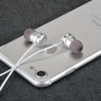 HOCO M16 Słuchawki przewodowe jack 3,5 mm douszne lekkie z mikrofonem i sterowaniem na kablu srebrne