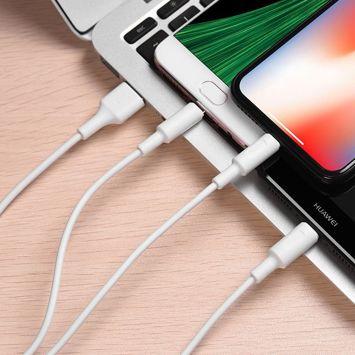 HOCO X25 Szybki 2A kabel do ładowania 3-w-1 dla złącza Ligntning / Micro-USB / Type-C Wysoka jakość i trwałość Długość 1m Kolor biały