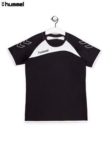 HUMMEL Czarny t-shirt chłopięcy z kontrastowymi wstawkami
