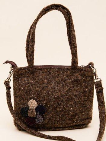 INCA Mała torebka dzianinowa w kolorze brąz melanż