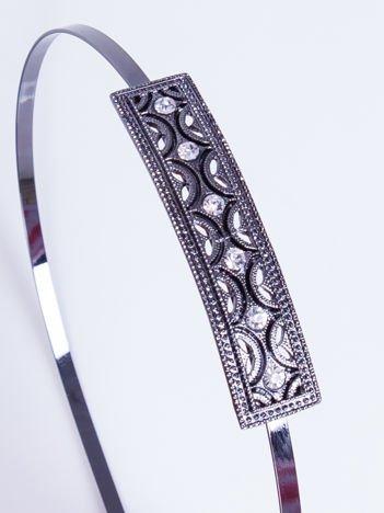 INCA Metalowa ozdobna opaska do włosów grafitowa z cyrkoniami