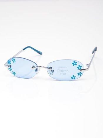 INCA Okulary dziecięce niebieskie z kwiatuszkami