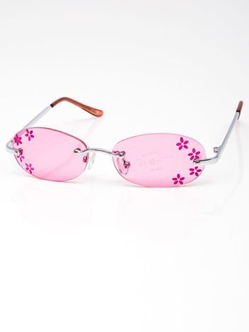 INCA Okulary dziecięce różowe z kwiatuszkami