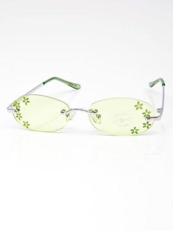 INCA Okulary dziecięce zielone z kwiatuszkami