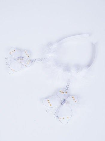 INCA Opaska dla dziewczynki z motylkami i puszkiem biała