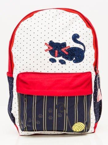 INCA Plecak kolorowy z cekinowym kotkiem