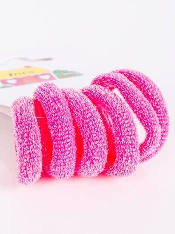 INCA Różowe posrebrzane gumki do włosów komplet 6 szt.
