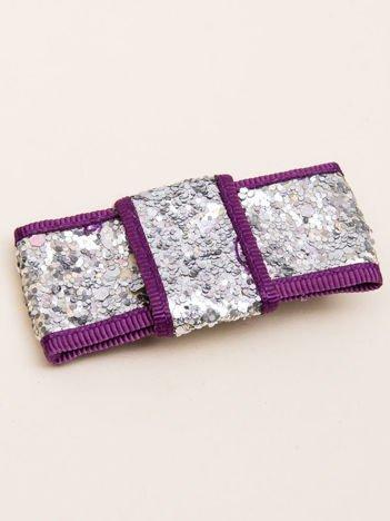 INCA Spinka do włosów krokodylek srebrno-fioletowa kokarda glitter