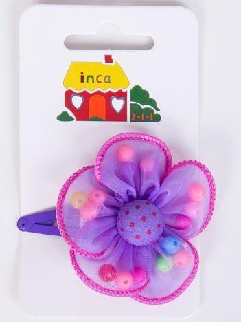 INCA Spinka fioletowa z liliowym kwiatem ozdobnym