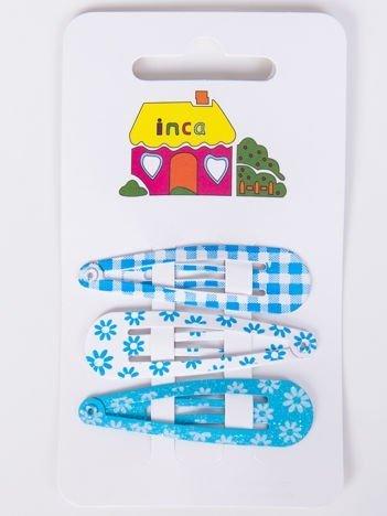 INCA Spinki  błękitne wzorzyste Zestaw 3 szt.