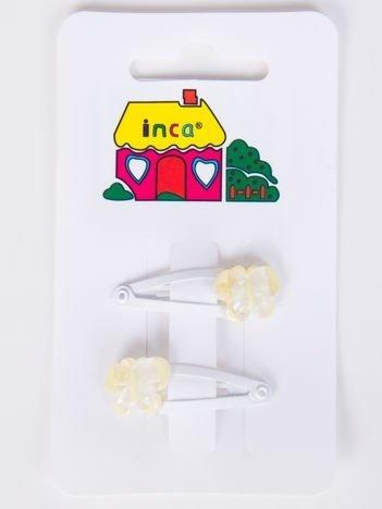 INCA Spinki do włosów białe 3 cm Komplet 2 szt.