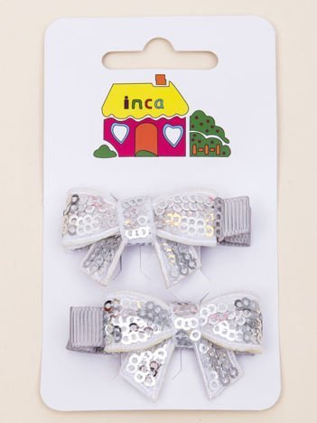 INCA Spinki do włosów krokodylki jasnoszare kokardki z cekinami komplet 2 szt.