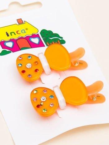 INCA Spinki do włosów pomarańczowe kokardki z cyrkoniami komplet 2 szt.