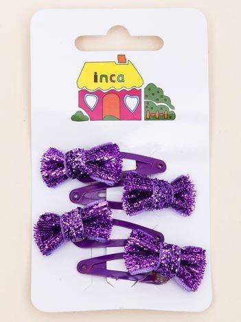INCA Spinki do włosów pyki fioletowe kokardki glitter komplet 4 szt.