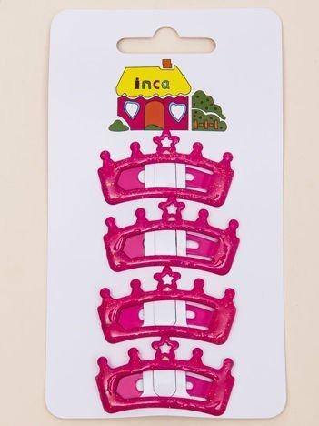 INCA Spinki do włosów pyki różowe korony z brokatem komplet 2 szt.
