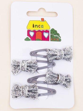INCA Spinki do włosów pyki srebrne kokardki glitter komplet 4 szt.