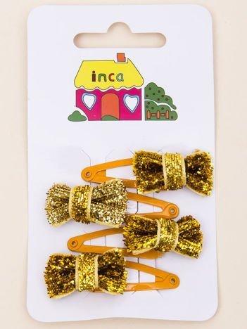 INCA Spinki do włosów pyki złote kokardki glitter komplet 4 szt.