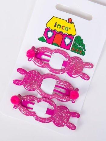 INCA Spinki do włosów różowe króliczki komplet 3 szt.