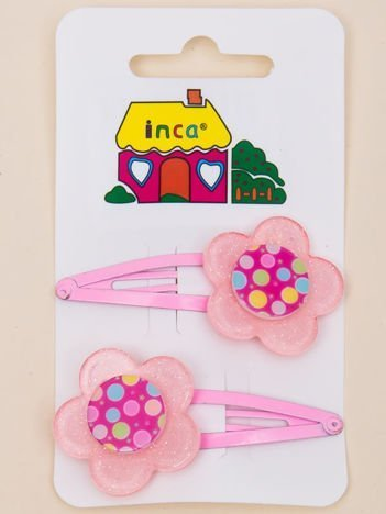 INCA Spinki do włosów z kwiatem jasnoróżowe komplet 2 szt.