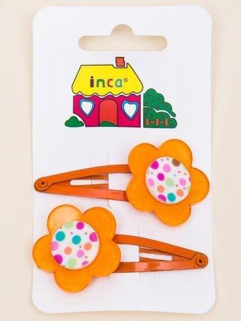 INCA Spinki do włosów z kwiatem pomarańczowe komplet 2 szt.